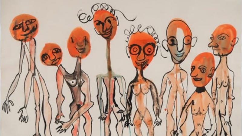 Personnages Alexander Calder  Gouache.  1970 75 x 110 cm