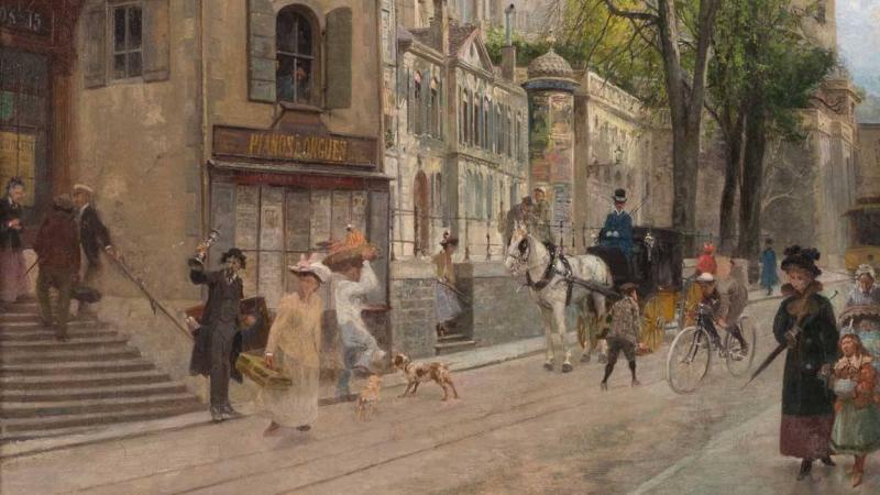 François-Adolphe GRISON (1845-1914) La rue de la Corraterie – Genève Huile sur toile signée – 73 x 55,5 cm