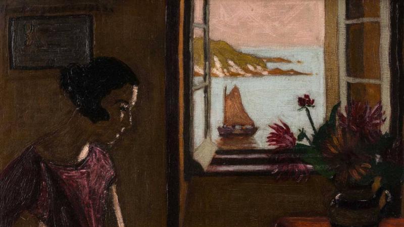 Marius BORGEAUD (1861-1914) Scène d'intérieur, jeune femme ravaudant Huile sur toile signée et datée 1923 – 55 x 46 cm