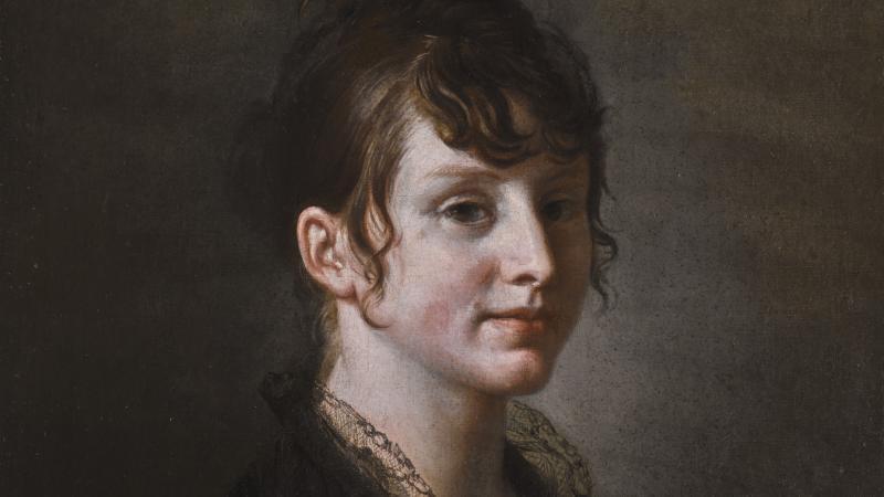 SAINT-OURS Jean-Pierre Portrait d'une jeune femme assise Huile sur toile - 60x49,5 cm Signé daté et situé : » St.Ours f. Genève 1805 » en bas à droite
