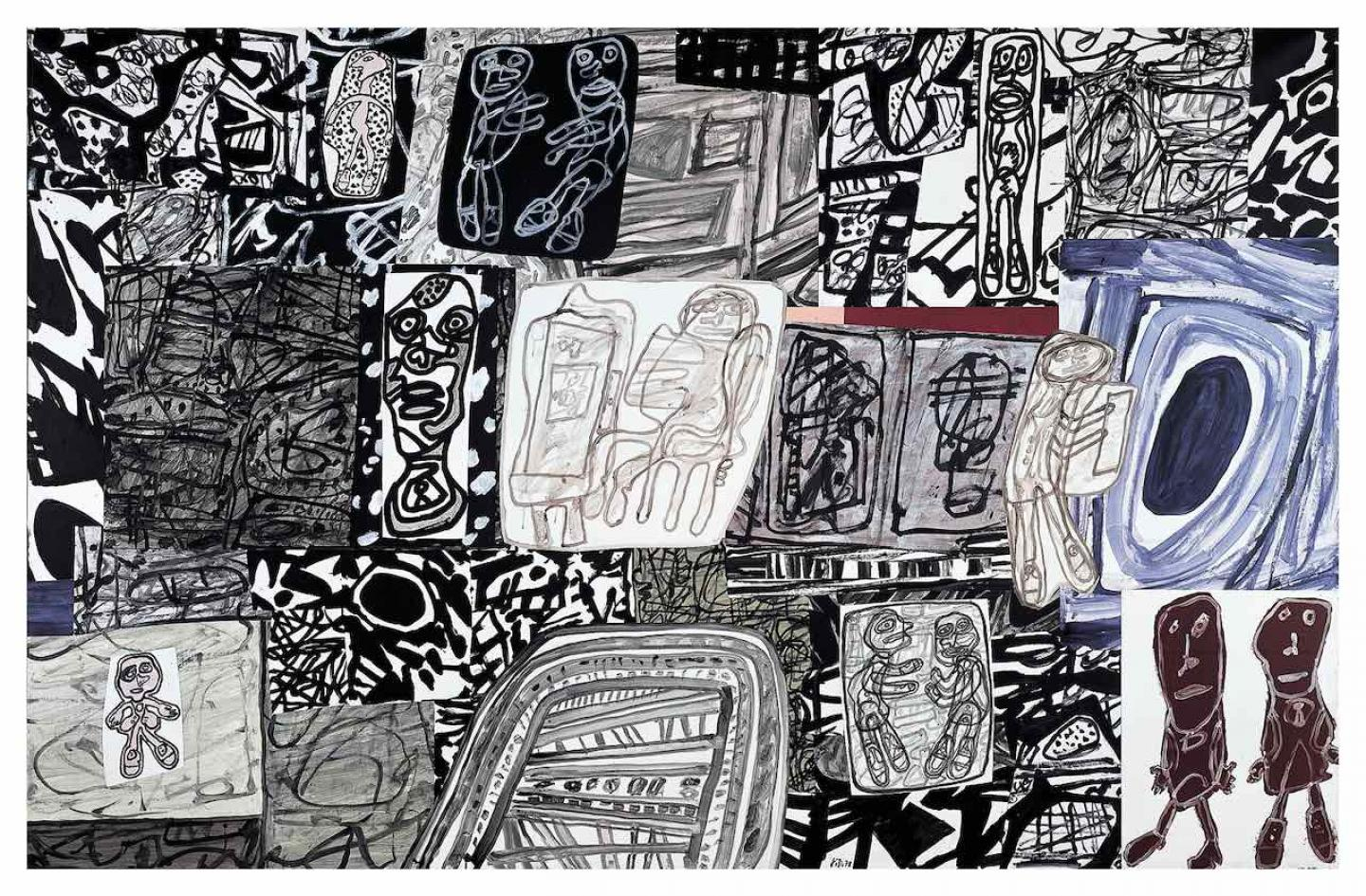 Dramatisation Jean Dubuffet 12 janvier 1978 Collage de 42 pièces acryliques sur papier marouflé sur toile. 210 x 328 cm Collection Fondation Dubuffet, Paris Photo :pour la Suisse © Fondation Dubuffet / 2020, ProLitteris, Zurich pour la France © Fondation Dubuffet / 2020, ADAGP, Paris