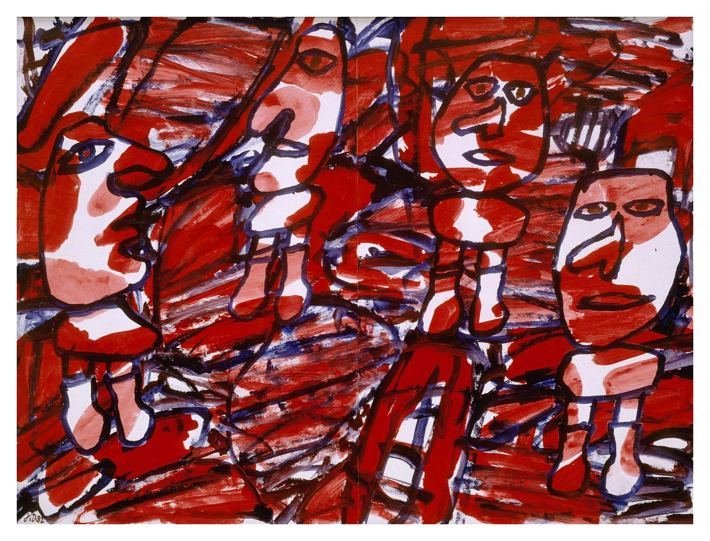 Bon courage Jean Dubuffet 24 mai 1982 Acryle sur papier (avec 4 pièces rapportées collées). 100 x 134 cm Collection Fondation Dubuffet, Paris Photo :pour la Suisse © Fondation Dubuffet / 2020, ProLitteris, Zurich pour la France © Fondation Dubuffet / 2020, ADAGP, Paris