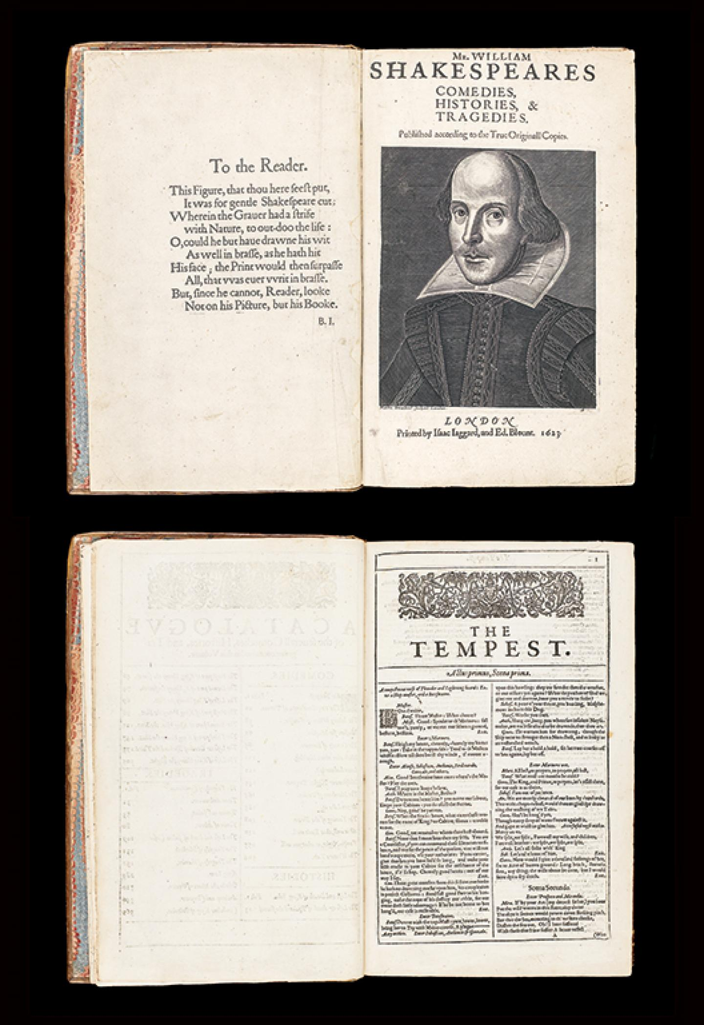 WILLIAM SHAKESPEARE (1564-1616) Mr. William Shakespeares Comedies, Histories, & Tragedies Londres, printed by William Iaggard, and Ed. Blount, 1623, première édition collective dite « First Folio », un des mythes de la bibliophilie internationale Cologny, Fondation Martin Bodmer