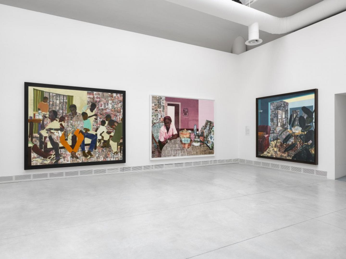 Njideka Akunyili Crosby, œuvres diverses, 2012-2017, Giardini, Court. the artist, Victoria Miro, and David Zwirner