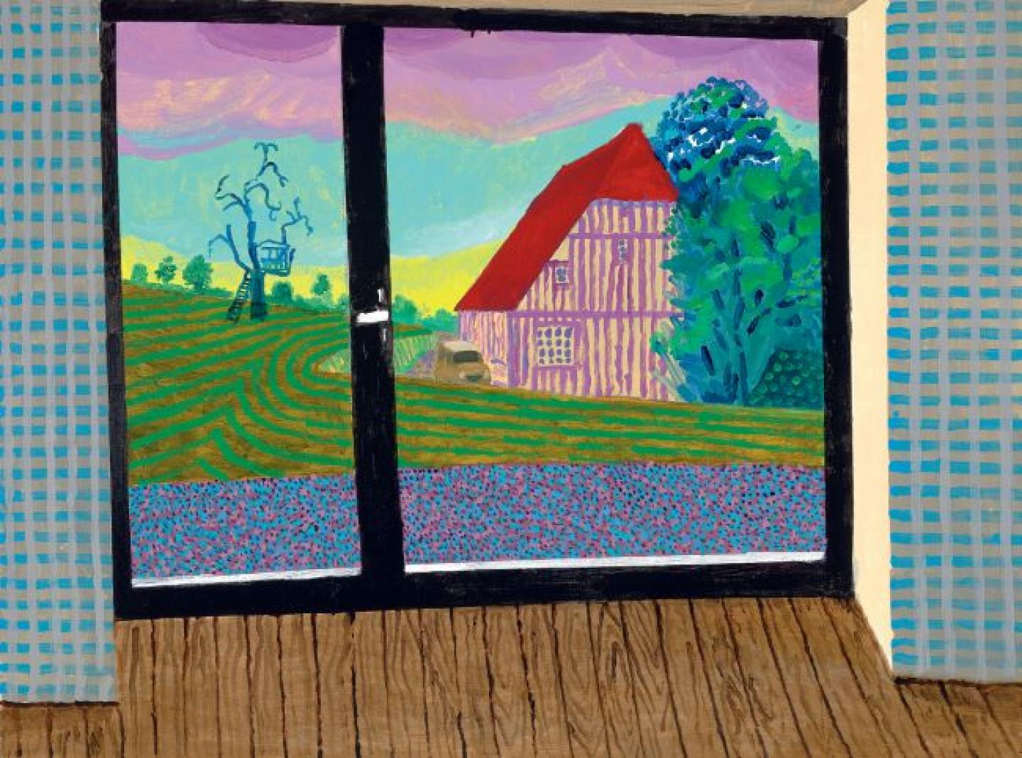 View From The Studio At Dawn II,  David Hockney, Acrylique sur toile, 201991 x 122 cm,  ©Galerie Lelong & Co