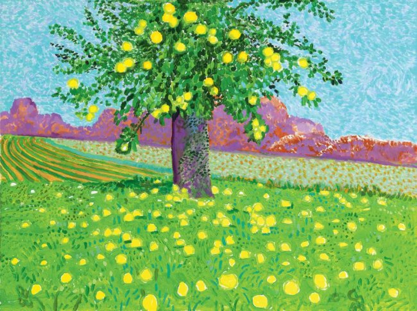 Apples on Tree and Ground, David Hockney, Acrylique sur toile, 201991 x 122 cm, ©Galerie Lelong & Co
